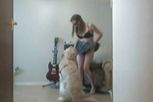 Amazingly hot and happy chick really loves her doggie